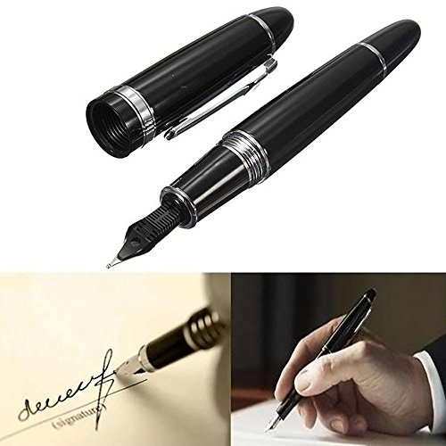BinaryABC Fountain Pen Avanzata Jinhao 159 Nero luminoso Con Silver Broad Pennino (nero)
