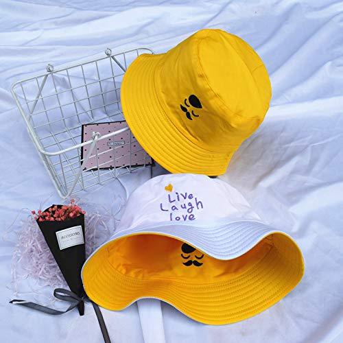 QQYZ Eimer Hüte Frauen Sonne Schattierung Flachen Buchstaben Bestickt Fischer Hut Koreanischen Stil Solide Doppelseitige Tragen Casual Womens Trendy Eine Größe 17