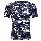 Cinnamou Mode Hommes Casual Camouflage Décontractés Pour Col O Pull Over Manche Courte T - Shirt Dessus Tops Blouse (Bleu, M)