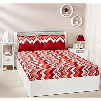 Amazon Brand - Solimo Abstract Waves 144 TC 100% Cotton Double Bedsheet with 2 Pillow Covers, Red