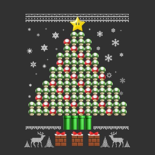 3D Super Mario Mushroom Christmas Tree Womens Sweatshirt Anthracite