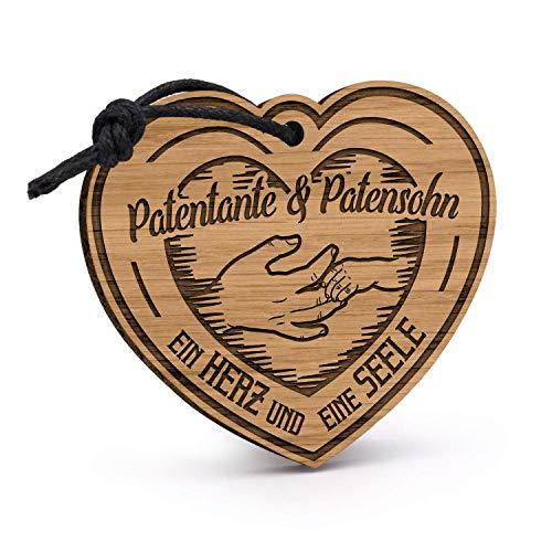 Fashionalarm Schlüsselanhänger Patentante & Patensohn - EIN Herz eine Seele aus Holz mit Gravur | Geburtstag Geschenk Idee Patin Taufpatin Taufe