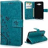 Funda para Samsung Galaxy Grand Prime G530H G5308 Funda, YOKIRIN View Cover Cáscara Flip PU Piel cuero Ultra Slim Wallet Book Style Magnética Función de Soporte Protective Case Protectora -azul