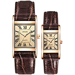 Student couple table/Leather strap quartz watch/Korean fashion waterproof watch-A