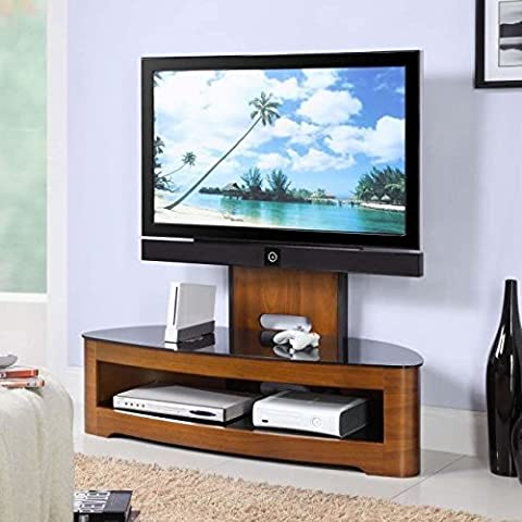Center One Jual JF209 - Media Unit TV Stand - Curved, TV Bracket - Walnut, Piano Glass by Center One Furniture