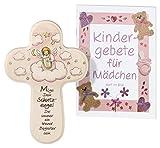 """Kinderkreuz / Taufkreuz für Mädchen in rosa aus Holz """"Schutzengel mit Harfe"""""""