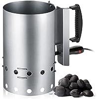 Encendedor eléctrico de barbacoa para carbón o briquetas, recipiente de acero inoxidable con capacidad 1