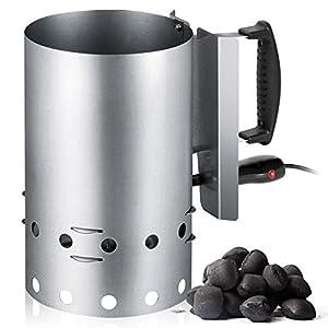 Encendedor eléctrico de Barbacoa para carbón o briquetas, Recipiente de Acero Inoxidable con Capacidad 1,5 Kg, 600W…