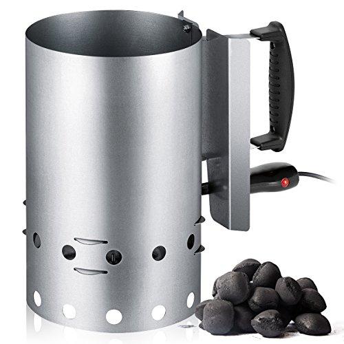 Encendedor eléctrico de Barbacoa para carbón o briquetas, Recipiente de Acero Inoxidable con Capacidad...