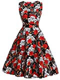 Fairy Couple DRT017 - Vestito svasato, stile vintage anni '50, motivo floreale con fiocco, abito da cocktail Red Skull L