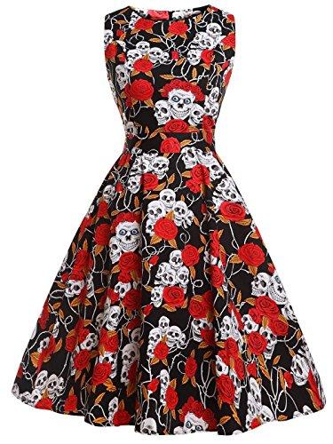 (Fairy Couple 50er Coctailkleid im Vintage-/Retro-Stil mit Blumenprint und einer Schleife Gr. M, Red Skull)