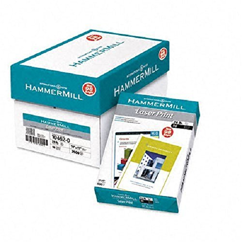Hammermill : Laser Print Copy/Laser Paper, White, 98 Brightness, 24lb, 11 x 17, 500 Sheets -:- Sold as 2 Packs of - 500 - / - Total of 1000 Each by Hammermill (Hammermill 24 Print Laser Lb)