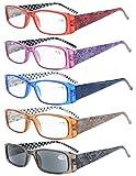 Eyekepper 5 Paia Occhiali da Lettura Aste Reticolo di Fiore per Donne Occhiali Presbite in Plastica Include uno Lenti Grigio per Sole Colore Misti Diottria +3.00
