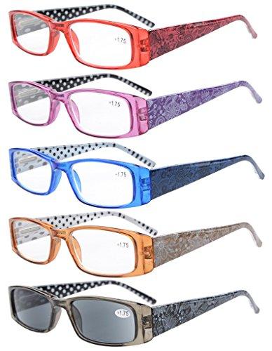 Eyekepper 5 Piezas Bisagras de Primavera de impresión de Lunares Gafas de lectura rectangulares Lectores de sol(Mixto, 1.25)