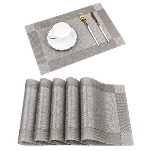 Homcomodar Sets de Table lavables PVC Napperons pour dîner résiste à la Chaleur Lot de 6 (Set de 4 Sets de Table, A-Gris)