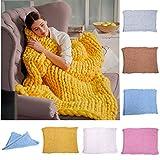 Fastar Strick-Kuscheldecke, handgefertigt, dick gestrickt, Decke für Schlafzimmer, Wohnzimmer, gelb, 120cmx150cm