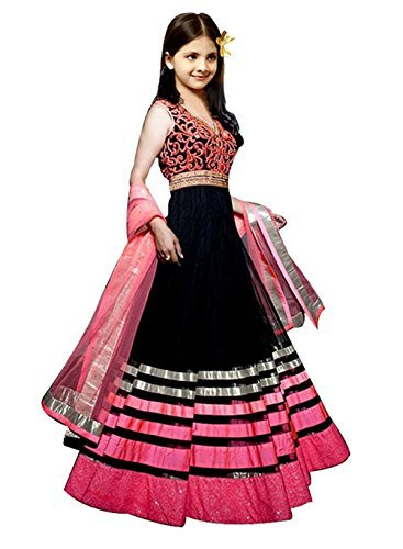 Prilora Traditional Kids Wear Black Color Embroidered Net Fabric Anarkali Salwar Suit For Girls Party Wear - 15-20 Years ( Girls Party Dresses )  available at amazon for Rs.399