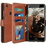 Huawei P8 Lite 2017 Funda, LK Carcasa Cubierta Cuero Billetera Case Flip Cover Con Ranuras de Tarjeta - marrón