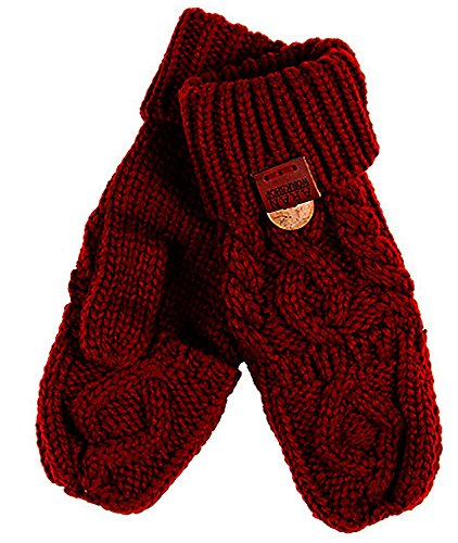 Aran Workshop Oxblood Red Foldover Cable Knit Fingerless Mitts - Cable Knit Mitt
