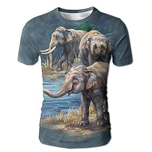 Camiseta con Estampado Completo 3D de Elefante asiático para Hombre, Camiseta Casual de Manga Corta, Camisetas S