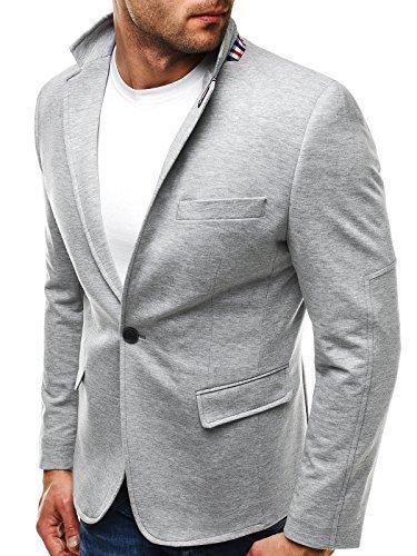 OZONEE Herren Sakko Business Anzug Kurzmantel Klassische Anzugjacke Jacket Blazer OZN 5504 M GRAU