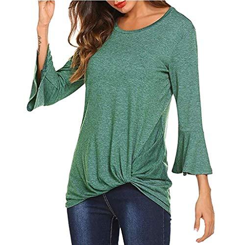 Damen Langarmshirt Damen Shirt Damen Langarm T-Shirt Rundhals Falten T-Shirt Casual Stretch Tunika Einfarbig Top Shirts Für Herbst & Frühling