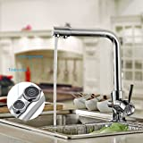 BONADE 360° Schwenkbarer Einhandmischer Küche Wasserhahn Chrom Armatur mit Umkehr Osmose Anlage Wasserfilter