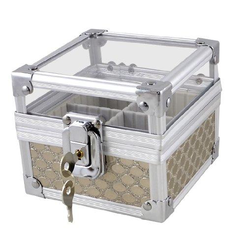 Silver Tone Metal Dots Pattern 4 Sections Lock Square Seal Holder Signet Box w Keys