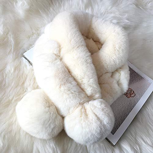 Wang-long sciarpe sciarpa per bambini impacchi scialle scaldacollo ragazza pelliccia di coniglio croce calda spessa tinta unita dolce principessa carina,5