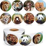 Chinco 500 Stücke Tier Aufkleber Zoo Tier Rolle Aufkleber 1-1/2 Zoll Selbstklebende Label Tierform Wandtattoos für Kinder Party Gefälligkeiten, 8 Stile