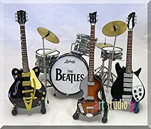 BEATLES Miniature Guitar Drumset JOHN, GEORGE, PAUL, RINGO