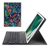 Fintie Bluetooth Tastatur Hülle für iPad 9.7 Zoll 2018 2017 / iPad Air 2 / iPad Air - Ultradünn leicht Ständer Keyboard Case mit magnetisch Abnehmbarer drahtloser Deutscher Tastatur, Dschungelnacht