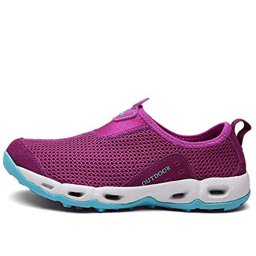 YIRUIYA Damen Aquaschuhe Atmungsaktiv Schwimmschuhe Slip-on Wassersport Unisex Violett