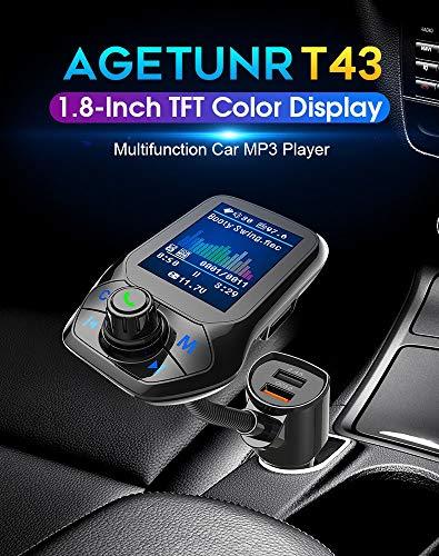 MRMRMR Auto MP3 Player FM Transmitter Farbdisplay Auto Bluetooth Radio Audio Adapter Auto Farbdisplay Wireless Adapter Lautsprecher MP3 Player Auto USB Port 5V 2.1A Schnellladegerät -
