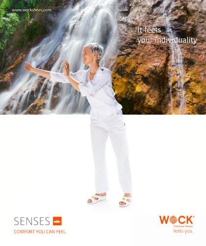 Senses Aqua - Chaussures professionnelles WOCK - Talon compensé; canaux de drainage; amortissement des chocs; ultra léger Blanc/Bleu