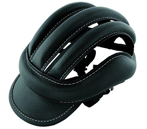 3485 Retro-Fahrradhelm aus Leder, Standardgröße für Erwachsene, Schwarz