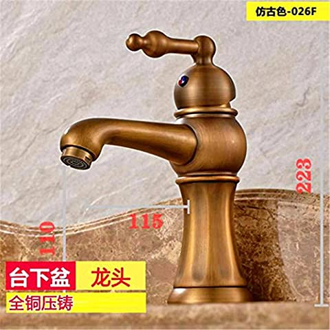 SADASD Basin Faucet Copper Europeanal Antique Low Single Hole Cabinet High Quality Standard Bathroom Sink Mixer (Hot and Cold