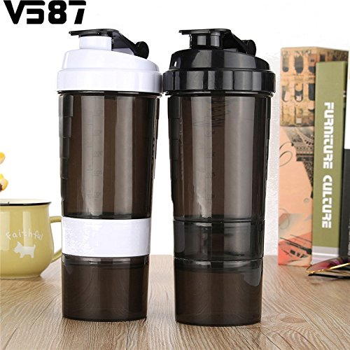 Pinkdose® 500Ml, Black: Sports Nutrition Whey Protein Shaker Blender Mixer Cup Sports Fitness Gym 3 Layers Multifunction 500Ml Bpa Free Shaker Bottle