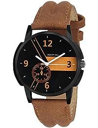 Golden Bell Original Multicolor Dial Brown Strap Analog Wrist Watch For Men - GB-762