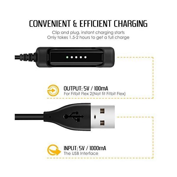AFUNTA USB Cable para Fitbit Flex 2 con Pulsera, 2 Paquetes 100cm y 17cm Cable de Carga USB Cradle Dock Adaptador con Botón de Reinicio, 1 Correa de Silicona Negro con Hebilla 3