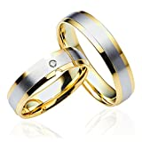 2 x 333 Gold Eheringe Partnerringe Trauringe Hochzeitsringe in Gelbgold und Weißgold *mit Gravur und Swarovski* C072-S