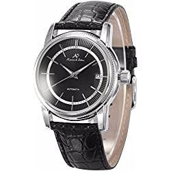 KS Men's Automatic Self-Winding Date Black Leather Strap Mechanical Dress Wrist Watch KS233