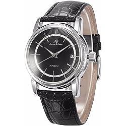 KS Men's Automatic Self-Winding Date Black Leather Strap Mechanical Dress Wrist Watch KS233