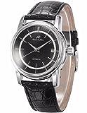 KS Herren Armbanduhr Automatik Mechanisch Schwarze Armband aus Leder mit