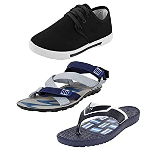 Earton Men Combo Pack of 3 Sandals with Casual Shoes & Flip-Flops