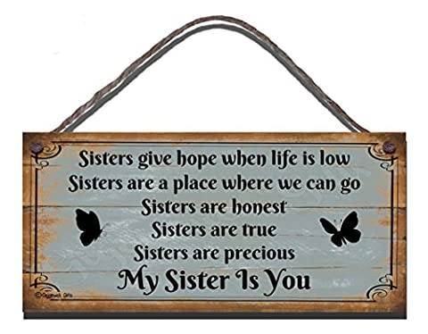 Funny Sign Birthday Occasion Shabby Chic Wooden Wall Plaque Gift Present Sisters Give Hope When Life Is Low