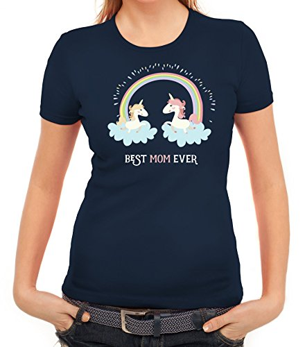 Einhorn Muttertag Damen T-Shirt mit Unicorn Best Mom Ever von ShirtStreet Dunkelblau