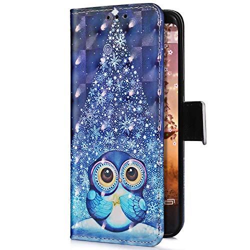 Uposao Kompatibel mit Samsung Galaxy A8 Plus 2018 Handyhülle Glitzer Bling 3D Bunt Leder Hülle Flip Schutzhülle Handytasche Brieftasche Wallet Bookstyle Case Magnet Kartenfach,Weihnachten Eule