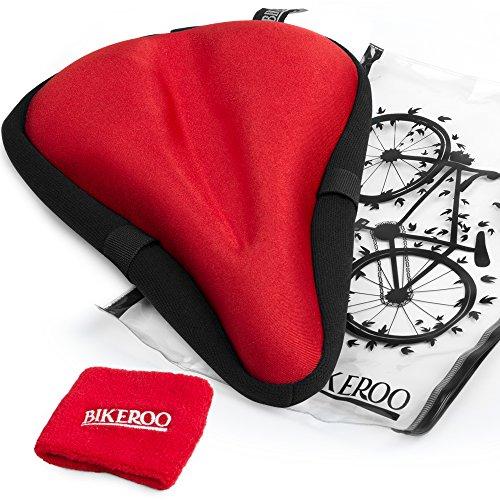 Más Cómodo asiento cojín para bicicleta de ejercicio [suave Gel Pad]–Universal para bicicleta para sillín de bicicleta para hombres y mujeres–se adapta interior ciclismo, Spinning, parado, Touring, carretera y bicicletas de montaña, rojo