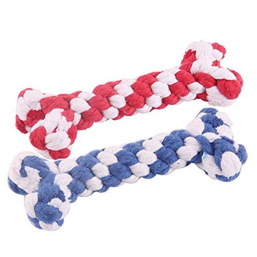 Hundespielzeug - Kauspielzeug Squeak Toys Seil abriebfeste Baumwollseil Spielzeug Molaren beißen roten und blauen Knochen-förmigen Heimtierbedarf 2pcs 16 * 5.5cm Pet Toys Interaktives ungiftiges Mater